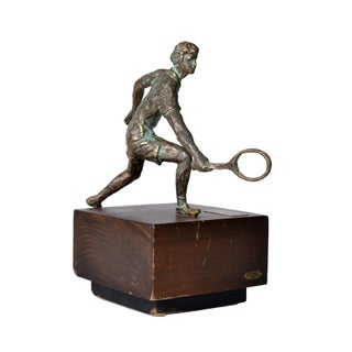 1994 Vintage Jere Bronze Tennis Player Sculpture