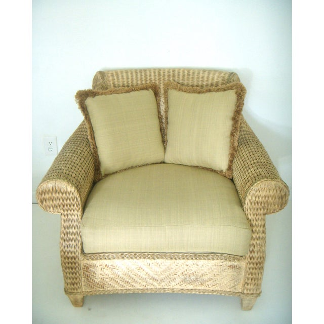 Oversized Wicker Armchairs & Ottoman - A Pair | Chairish