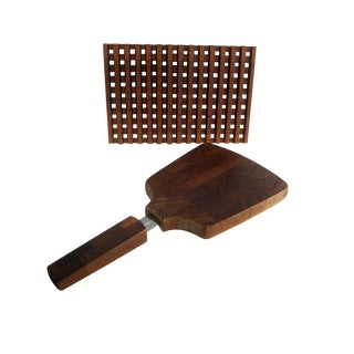 Dansk Cheese Cutting Board Knife & Trivet