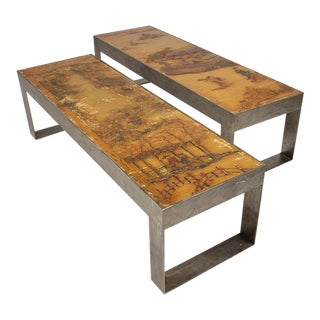 Pair of Chinoiserie Metal Coffee Tables