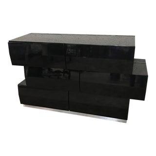 Black Lacquer Modern Dresser, Circa 1980s
