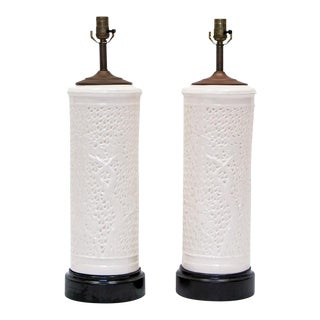 Vintage Chinoiserie White Ceramic Lamps - a Pair