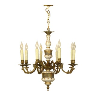 French Limoges Bronze Eight Arm Chandelier