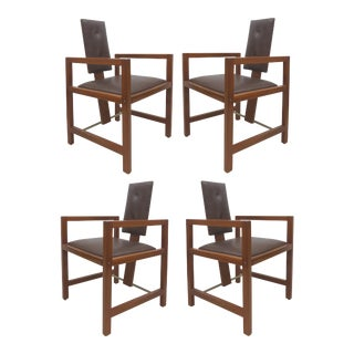Andre Sornay French Art Deco Mahogany & Leather Armchairs- Set of 4