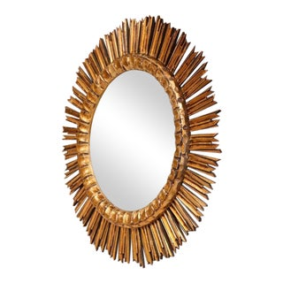 Mid-Century French Sunburst Convex Mirror