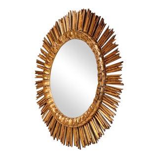 Mid-Century French Sunburst Convex Mirror