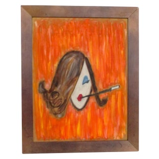 Vintage Painting on Silk of 1960's Glamour Girl