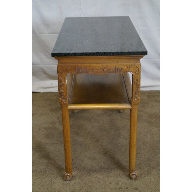 Baker Furniture Carved Teak Chinese Style Granite Top Console Table - Image 3 of 10