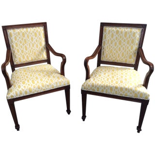 French Antique Armchairs in Yellow - A Pair