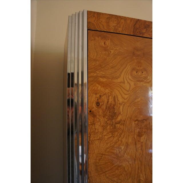 Milo Baughman Burl & Chrome Skyscraper Bar Cabinet - Image 4 of 11
