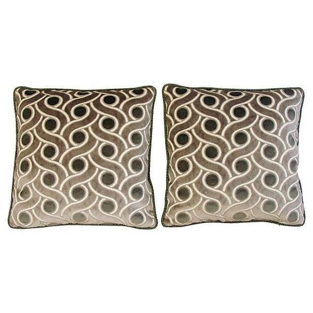 Osborne & Little Cut Velvet Pillows- A Pair - Image 6 of 7