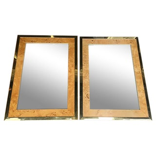Milo Baughman for Founders Burl Wood Mirrors - A Pair