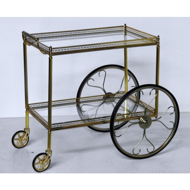 French Modern Rolling Bar Cart - Image 2 of 9