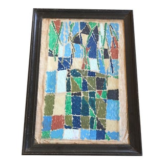 1960's French Abstract Cubist Oil Painting