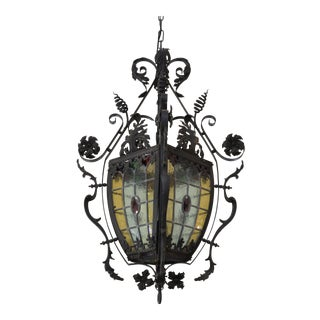 Vintage Art Glass and Wrought Iron Chandelier