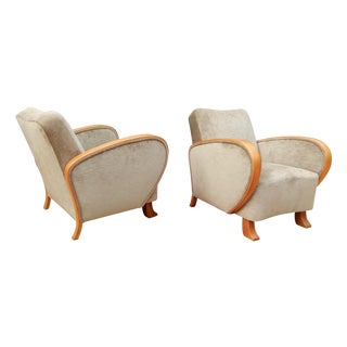 Art Moderne Armchairs in Elm, Sweden 1930s - Pair