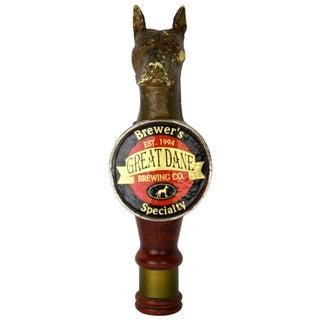 Vintage Carved Wood Gold-Tone Beer Tap Pull