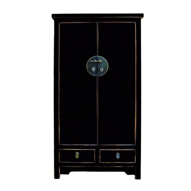 Chinese Distressed Black Storage Cabinet - Image 1 of 5