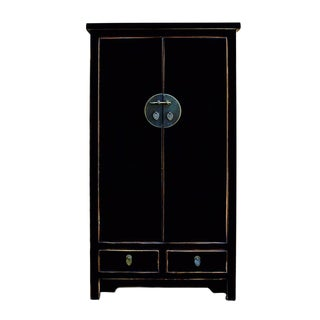 Chinese Distressed Black Storage Cabinet
