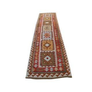 Handmade Vegetable Dyed Afghani Kilim Rug - 2′7″ × 9′6″