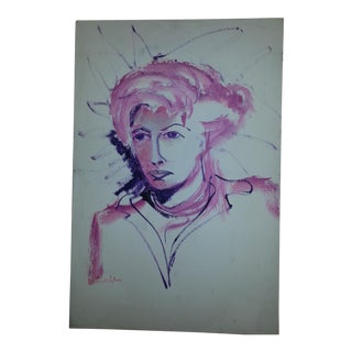 Pink Acrylic Portrait of a Woman on Canvas