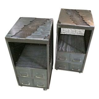 Industrial Repurposed Metal Nightstands - A Pair
