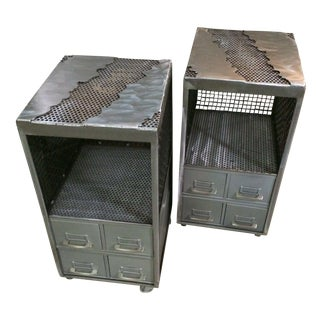 Industrial Repurposed Metal Nightstands - A Pair
