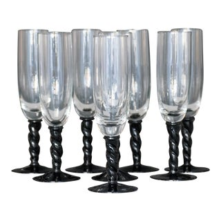 Mid-Century Modern Champagne Flutes - Set of 8