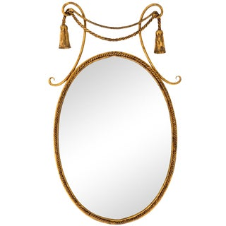 Italian Toleware Oval Mirror with Tassels