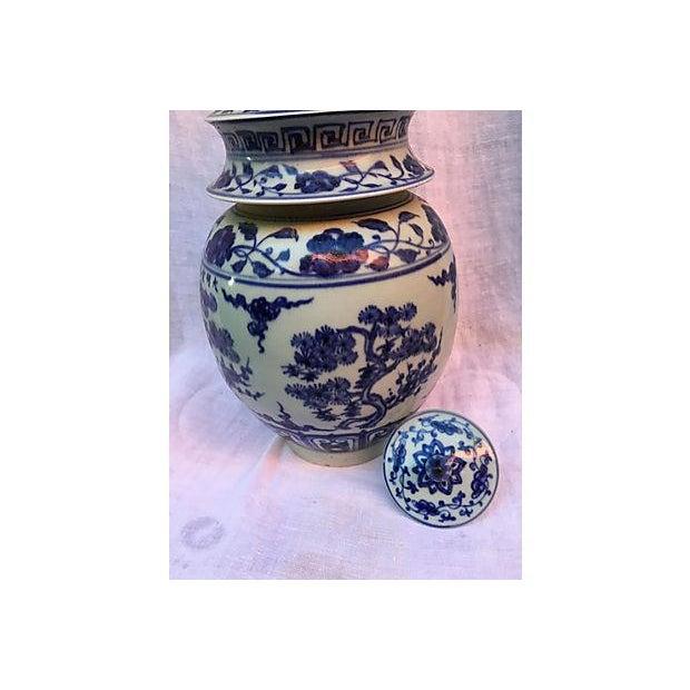Blue & White Pagoda Ginger Jars - Pair - Image 6 of 7