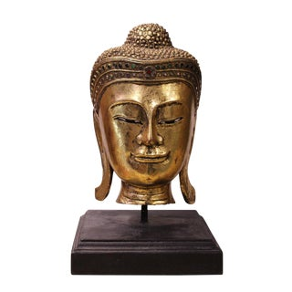 Handcrafted Gold Wood Serene Peaceful Buddha Head On Stand