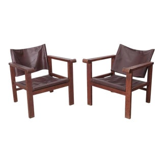 Pair of French Art Deco Reclining Sling Leather Lounge Chairs, 1940s