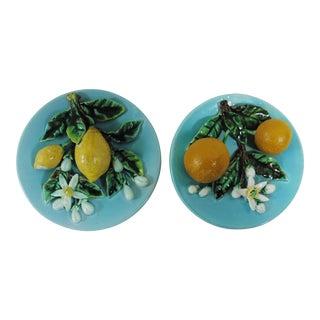 Majolica Lemons & Oranges Plates - A Pair