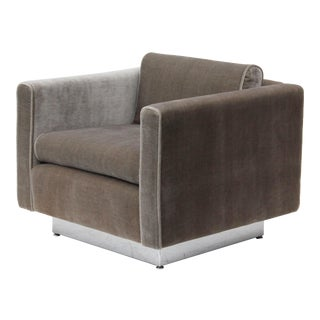 Stow & Davis Cube Club Chair in Grey Velvet