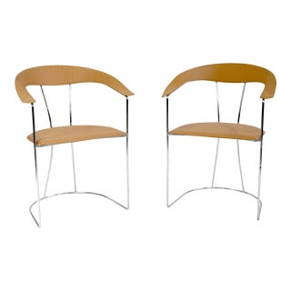 Arrben Italian Made Tan Leather Ursula Armchairs - A Pair