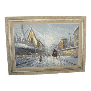 Mid-Century Impressionist Winter Cityscape