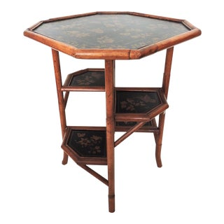Multi Level Octagonal Bamboo Side Table