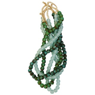 Green & Ice Glass Bead Strands - Set of 4