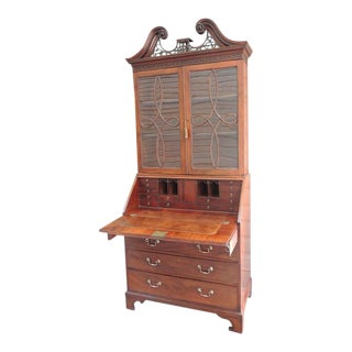 Mid 18th C English Mahogany Chippendale Secretary