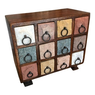 Bohemian Wood & Natural Stone 12 Drawer Chest