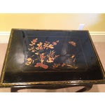 Image of French Louis XV Style Black Lacquered Side Table