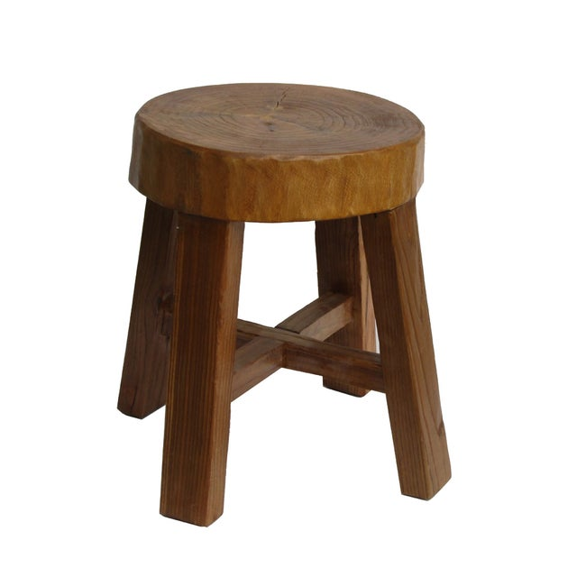 Chinese Rustic Bold Wood Round Stool - Image 1 of 5