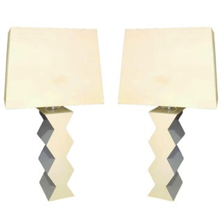 Karl Springer Zig-Zag Table Lamps - A Pair