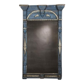 Hand made window frame with the original stunning blue painted finish from Sweden c. 1850 now enclosing an antiqued mirror. (41″w x 68″h)