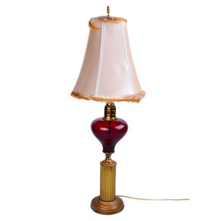 Italian Brass and Glass Table Lamp With Shade