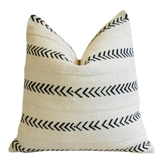 African Mali Mud Cloth & Linen Tribal Textile Pillow
