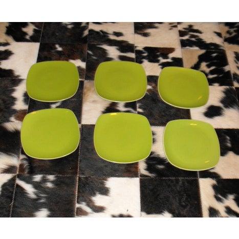 Image of 6 Mid-Century Modern Style Avocado Dinner Plates