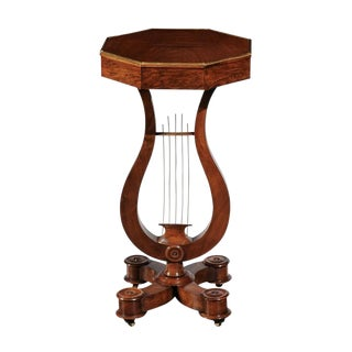 Early 19th Century English Regency Mahogany Side Table with Lyre Shaped Pedestal