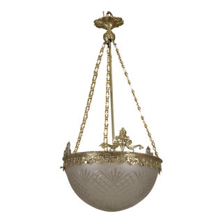 French Gilt Bronze and Etched Glass Dome Hanging Fixture