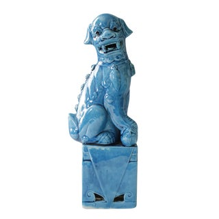 Vintage Blue Ceramic Foo Dog Statue